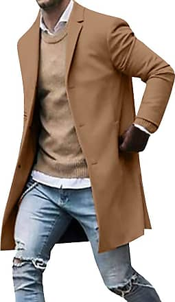 junkai Mens Casual Trench Coat Business Coats Solid Color Slim Fit Overcoat Single Breasted Medium Long Jackets Top Khaki 3XL