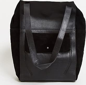 Urban Code leather tote bag with suede pocket in black