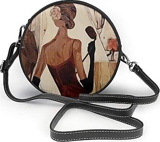 Turfed Beautiful Jazz Singer Print Round Crossbody Bags Women Shoulder Bag Adjustable PU Leather Chain Strap and Top Zipper Small Handbag Handle Tote