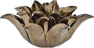 Three Hands Bronze Ceramic Flower Candle Holder - 28049