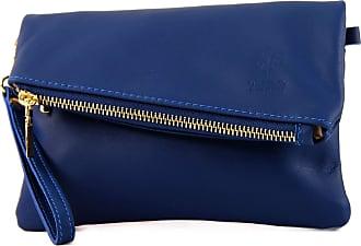 modamoda.de ital leather bag small ladies bag shoulder bag Clutch Wrist Bag leather T95, Colour:blue