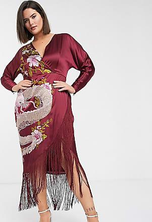 Asos Curve ASOS DESIGN Curve - Vestito midi a kimono con drago ricamato e fondo a frange-Rosso