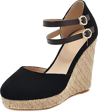 Mediffen Women Ankle Strap Wedge High Heels Espadrilles Platform Sandals Comfort Ladies Fashion Summer Wedges Sandals Black Size 34 Asian
