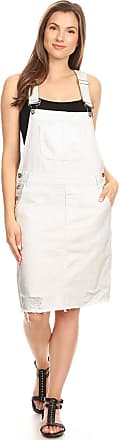 Anna Kaci Junior Womens Distressed Denim Adjustable Strap Overall Dress, Off-White,Medium