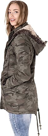 Noroze Womens Ladies Fur Oversized Hood Fishtail Jacket Military Parka Coat (14, Camo)
