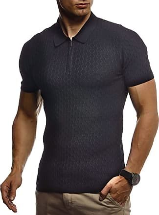 LEIF NELSON Mens T-Shirt Summer Polo LN-7315 Black XX-Large