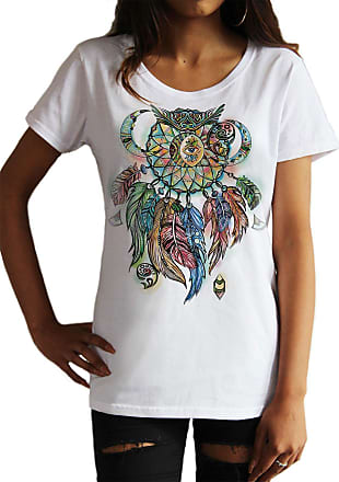 Irony Womens T-Shirt Dream Catcher Tribal Red Indian Native American Feathers Effect TS1110 (White, XLarge)