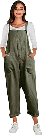 Vonda Womens Strappy Jumpsuits Overalls Casual Harem Wide Leg Dungarees Rompers A-Army Green 3XL