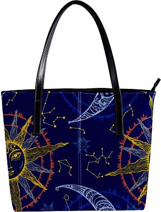 Nananma Womens Bag Shoulder Tote handbag with Zodiac Moon And Sun Print Zipper Purse PU Leather Top-handle Zip Bags