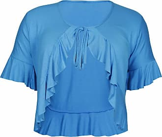 Purple Hanger New Ladies Plus Size Tie Frill Ruffle Shrug Tops Womens Bolero Cropped Stretch Cardigan Top Turquoise Size 26-28