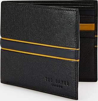 Ted Baker Striped Leather Bifold Wallet in Black TRAVE, Mens Accessories