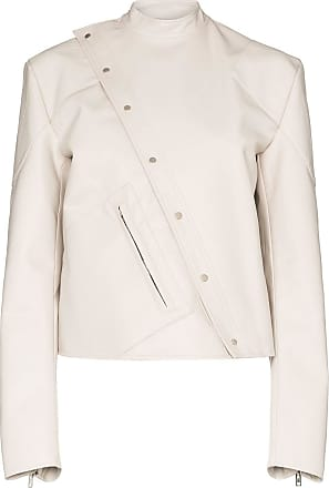 Zilver asymmetrical faux leather biker jacket - White