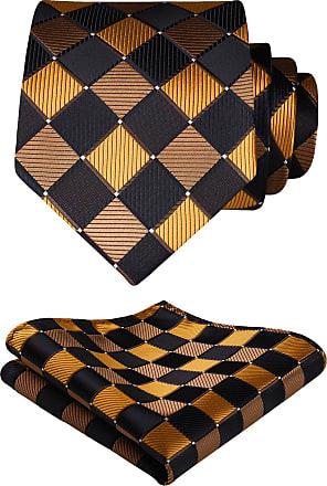 Hisdern Extra Long Check Tie Handkerchief Mens Necktie & Pocket Square Set, XL, 63 inches length, Brown / Orange