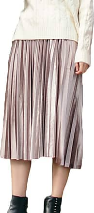 Yonglan Womens Long Skirt Stylish and Comfortable High Waist Loose Retro Gold Velvet Pleated Skirt Pink