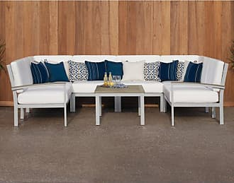 Oxford Garden Outdoor Oxford Garden Travira Tekwood and Aluminum 7 Piece Patio Loveseat and Table Chat Set Eggshell White - 5235