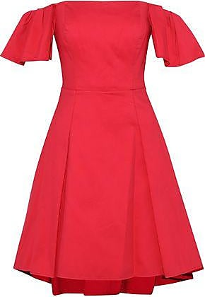 6ce5ea9f2b76 Halston Heritage Halston Heritage Woman Off-the-shoulder Cotton-blend Dress  Red Size