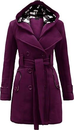 Noroze Womens Black Long Sleeve Belted Button Coat Hood Plus Size Jackets Size 8 10 12 14 16 18 20 (L(12), Purple)