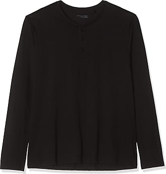 Schiesser Mens Mix & Relax Langarmshirt Knopfleiste Pyjama Top, Black (Black 000), XXX-Large (Size: 058)
