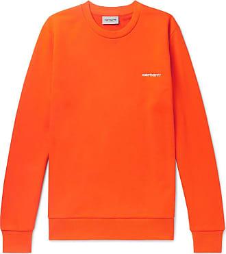 Carhartt Work in Progress Logo-embroidered Loopback Cotton-blend Jersey Sweatshirt - Orange