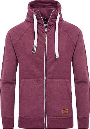 Yazubi Mens Full Zip Midweight Hooded Jacob - Man Vintage Sweater Hoodie Dark, Red (Plum Wine 181411), XS