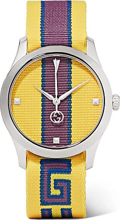 e97da9f36ed Gucci Striped Canvas And Stainless Steel Watch - Yellow
