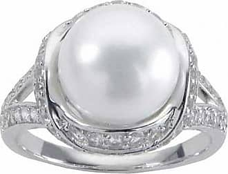 4b5e0e1b469962 Zales 10.0 - 11.0mm Cultured Freshwater Pearl and White Topaz Split Shank  Ring in Sterling
