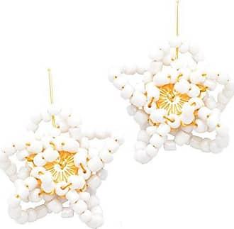 Tinna Jewelry Brinco Dourado Flor Estrela Grande (Branco)