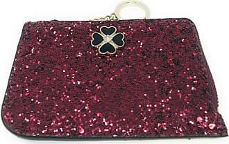 Kate Spade New York Odette Glitter Medium L-Zip Card Holder Wallet Red