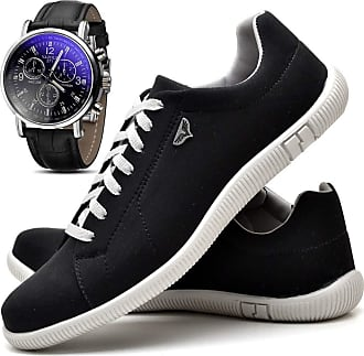 Juilli Kit Sapatênis Sapato Casual Com Relógio Masculino JUILLI 900DB Tamanho:41;cor:Preto;gênero:Masculino