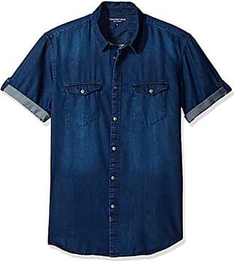 8821fb0ebdf Calvin Klein Jeans Mens Short Sleeve Denim Button Down Shirt