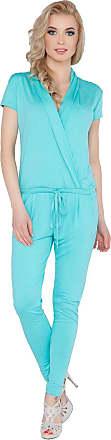 FUTURO FASHION Womens Jumpsuit with Pockets V Neck Wrap Playsuit Catsuit Sizes 8-18 1080 Aqua