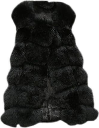 ZongSen Womens Faux Fur Vest Gilets Coat Jacket Sleeveless Long Waistcoat Black XXL