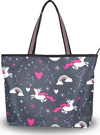 Lorona Women Astrological Unicorn Patterns Canvas Shoulder Hand Bag Large Capacity Tote Bag