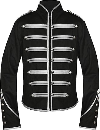 Banned Military Jacket (Black/Silver) - X-Large