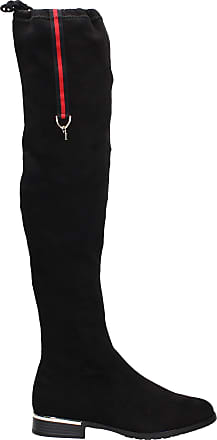 Swankyswans Clair Womens Black Faux Suede Designer Boot Knee High Long Winter Boots Size UK 8 / EU 41