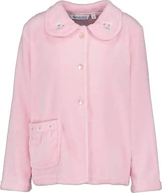Slenderella Ladies Bed Jacket Floral Embroidered Collar Coral Fleece Button Up Housecoat Medium (Pink)