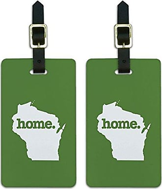 Graphics & More Graphics & More Wisconsin Wi Home State Luggage Suitcase Id Tags-Solid Green, White