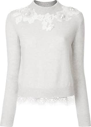 Onefifteen Suéter de cashmere com patch de renda floral - Cinza