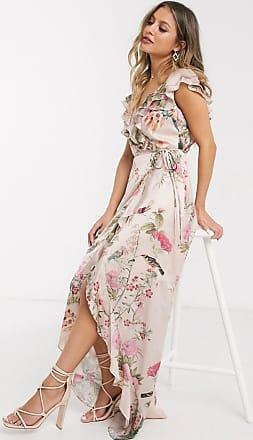 Lipsy x Abbey Clancy - Vestito midi a portafoglio rosa a fiori con volant-Multicolore