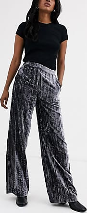 Whistles crushed velvet wide trouser-Silver
