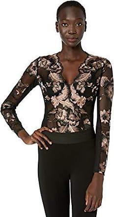 BCBGMAXAZRIA Womens Long Sleeve Embroidered Bodysuit