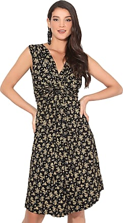 Krisp Small Floral Print Knot Front Dress, Yellow, 20, 3414-YEL-20