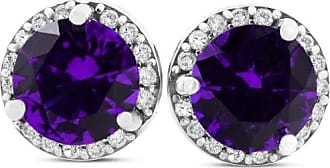 Pompeii3 VS 1.00CT Amethyst & Genuine Diamond Halo Studs 18K White Gold Earrings