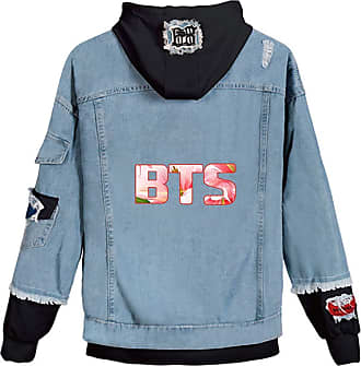 EmilyLe OLIPHEE Womens Casual Denim Jacket Button Splicing Hooded Fangirls Kpop BTS Persona Bangtan Boys Loveyourself Suga Jin Jung Kook RM J-Hope Jimin V BTS