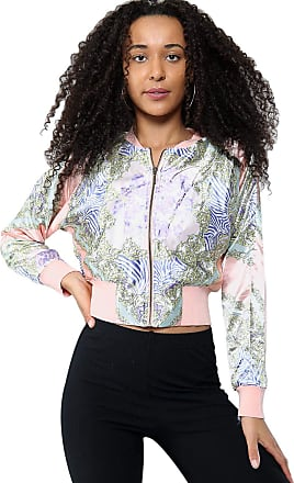 True Face Womens Batwing Jacket Full Sleeves Front Zip Crew Neck Floral Bomber Silky Top Pink Medium