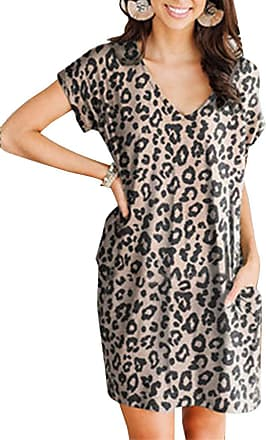 Yidarton Womens Summer Casual Short Sleeve Dress Floral Printed V Neck Beach Dresses with Pockets (Leopard, Medium)