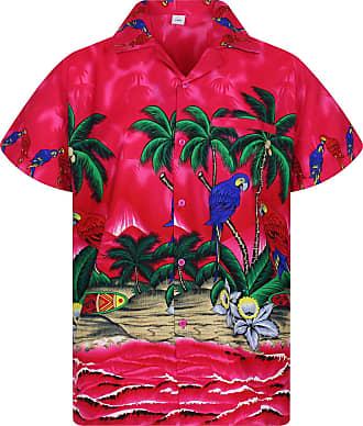 V.H.O. Funky Hawaiian Shirt, Shortsleeve, Parrot, Pink, 6XL