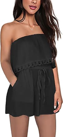 junkai Jumpsuit Rompers for Ladies - Loose Fit Overall Sexy Bandeau Off Shoulder Playsuit One Piece Short Dress for Holiday, Beach Black