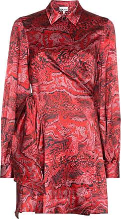 Ganni Vestido envelope estampado - Vermelho