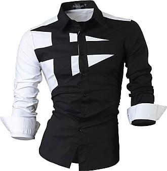 Jeansian Boys Slim Fit Long Sleeves Casual Button Down Dress Shirt JZL002 Black XL